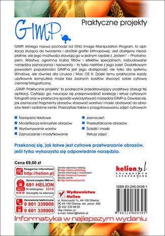 Tył okładki książki GIMP. Praktyczne projekty