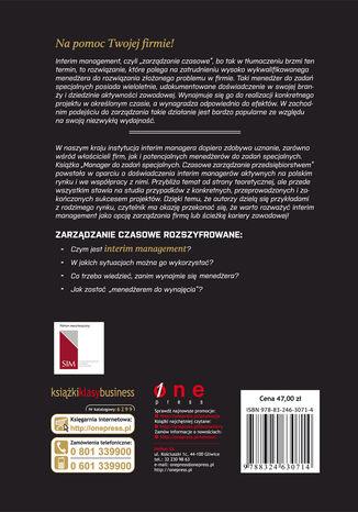 Tył okładki książki/ebooka Menedżer do zadań specjalnych. Czasowe zarządzanie przedsiębiorstwem