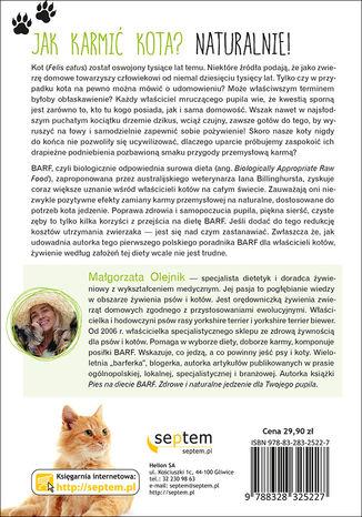 Tył okładki książki/ebooka Kot na diecie BARF. Zdrowe i naturalne jedzenie dla Twojego pupila