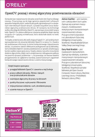 Tył okładki książki/ebooka OpenCV 3. Komputerowe rozpoznawanie obrazu w C++ przy użyciu biblioteki OpenCV