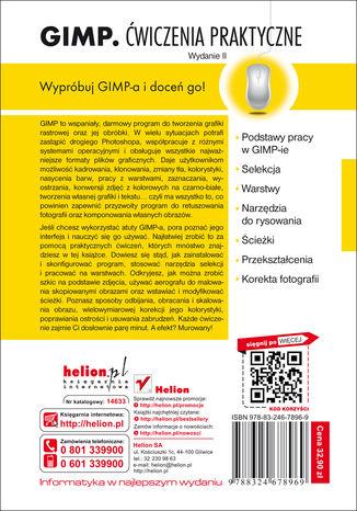 Tył okładki książki GIMP. Ćwiczenia praktyczne. Wydanie II