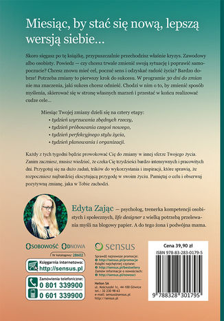 Tył okładki książki/ebooka 30 Dni do Zmian. Dokonaj życiowej metamorfozy w kilka tygodni