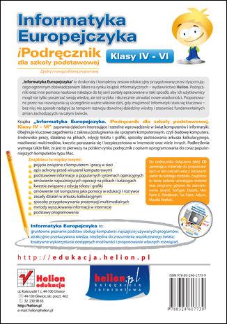 Tył okładki książki Informatyka Europejczyka. iPodręcznik dla szkoły podstawowej, kl. IV - VI