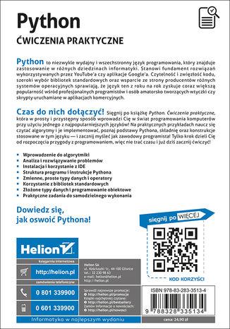 Tył okładki książki/ebooka Python. Ćwiczenia praktyczne