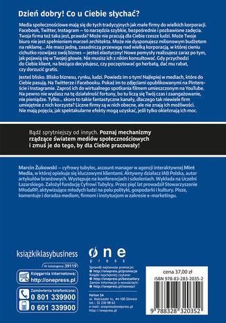 Tył okładki książki Twoja firma w social mediach. Podręcznik marketingu internetowego dla małych i średnich przedsiębiorstw