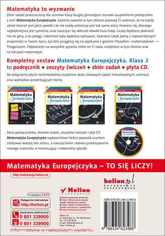 Tył okładki książki/ebooka Matematyka Europejczyka. Zbiór zadań dla gimnazjum. Klasa 2