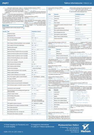 Tył okładki książki Tablice informatyczne. PHP7
