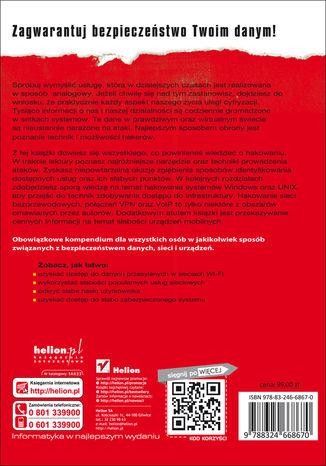 Tył okładki książki/ebooka Vademecum hackingu. Skuteczna obrona sieci przed atakami. Wydanie VII