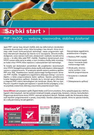 Tył okładki książki/ebooka PHP i MySQL. Dynamiczne strony WWW. Szybki start. Wydanie V