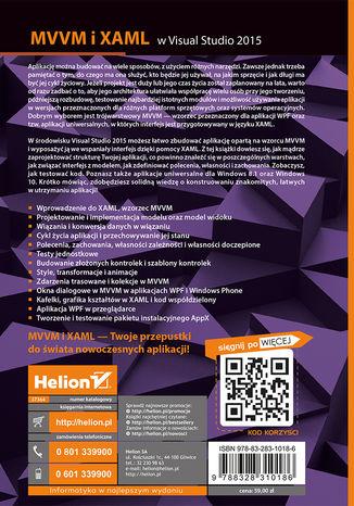 Tył okładki książki/ebooka MVVM i XAML w Visual Studio 2015