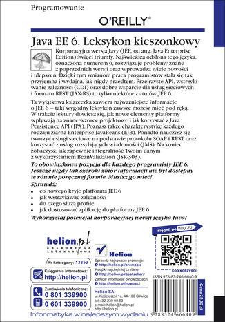 Tył okładki książki/ebooka Java EE 6. Leksykon kieszonkowy