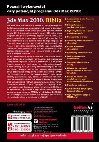 Tył okładki książki/ebooka 3ds Max 2010. Biblia