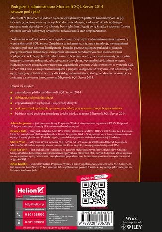 Tył okładki książki Microsoft SQL Server 2014. Podręcznik administratora