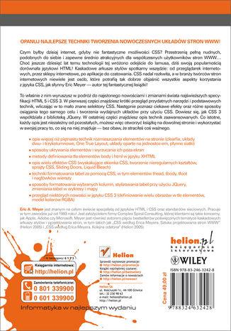 Tył okładki książki/ebooka Podręcznik CSS. Eric Meyer o tworzeniu nowoczesnych układów stron WWW. Smashing Magazine