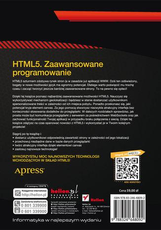 Tył okładki książki/ebooka HTML5. Zaawansowane programowanie