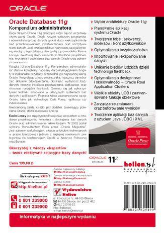 Tył okładki książki Oracle Database 11g. Kompendium administratora