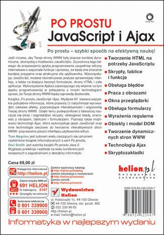 Tył okładki książki Po prostu JavaScript i Ajax. Wydanie VII