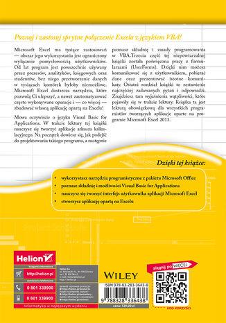 Tył okładki książki Excel 2013 PL. Programowanie w VBA. Vademecum Walkenbacha