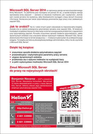 Tył okładki książki/ebooka Microsoft SQL Server 2014. Optymalizacja zapytań