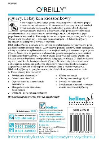 Tył okładki książki jQuery. Leksykon kieszonkowy