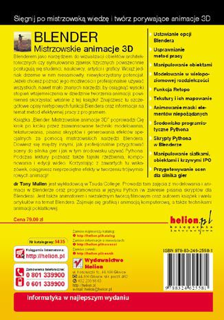 Tył okładki książki Blender. Mistrzowskie animacje 3D
