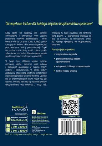 Tył okładki książki Analiza śledcza i powłamaniowa. Zaawansowane techniki prowadzenia analizy w systemie Windows 7. Wydanie III