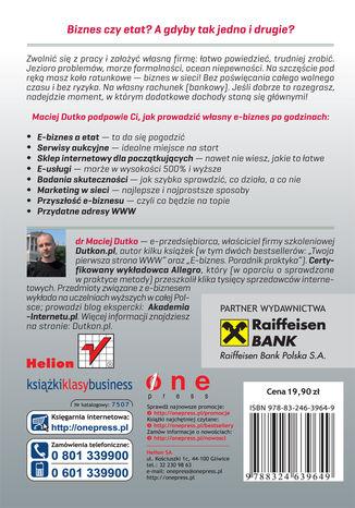 Tył okładki książki E-biznes po godzinach. Jak zarabiać w sieci bez rzucania pracy na etacie. Wydanie kieszonkowe