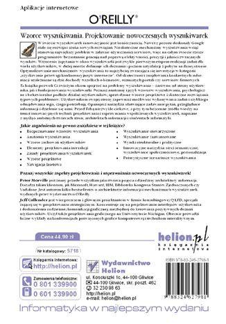 Tył okładki książki/ebooka Wzorce wyszukiwania. Projektowanie nowoczesnych wyszukiwarek