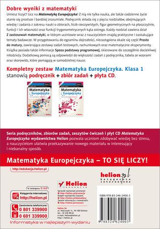 Tył okładki książki/ebooka Matematyka Europejczyka. Podręcznik dla szkół ponadgimnazjalnych. Zakres podstawowy i rozszerzony. Klasa 1