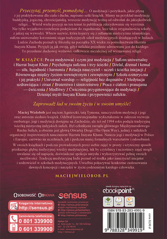 Tył okładki książki/ebooka Medytacja w życiu codziennym. Ścieżki praktyki w sufizmie uniwersalnym. Wydanie II