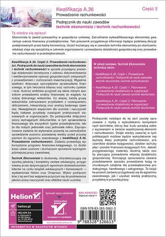 Tył okładki książki/ebooka Kwalifikacja A.36. Część 2. Prowadzenie rachunkowości. Podręcznik do nauki zawodów technik ekonomista i technik rachunkowości