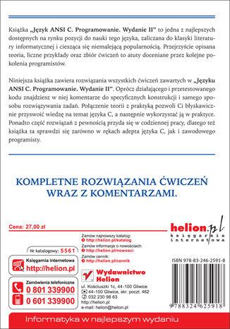 Tył okładki książki Język ANSI C. Programowanie. Ćwiczenia. Wydanie II