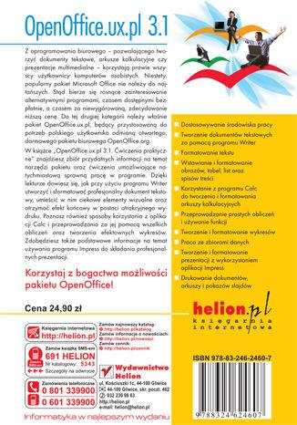 Tył okładki książki/ebooka OpenOffice.ux.pl 3.1. Ćwiczenia praktyczne