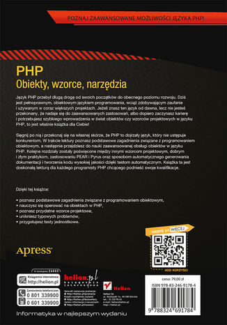 Tył okładki książki PHP. Obiekty, wzorce, narzędzia. Wydanie IV