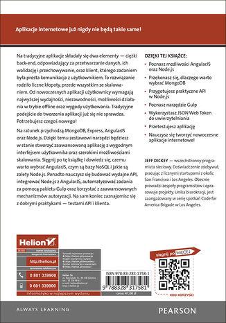 Tył okładki książki Nowoczesne aplikacje internetowe. MongoDB, Express, AngularJS, Node.js