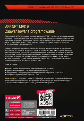 Tył okładki książki ASP.NET MVC 5. Zaawansowane programowanie
