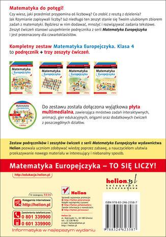 Tył okładki książki/ebooka Matematyka Europejczyka. Zeszyt ćwiczeń dla szkoły podstawowej. Klasa 4. Część 1