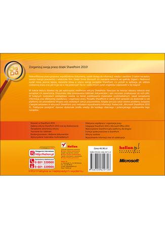 Tył okładki książki Microsoft SharePoint 2010 PL. Praktyczne podejście