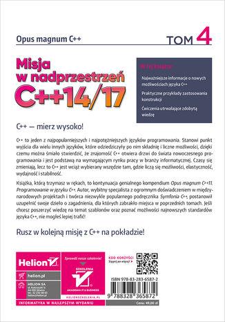 Tył okładki książki/ebooka Opus magnum C++. Misja w nadprzestrzeń C++14/17. Tom 4