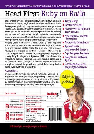 Tył okładki książki/ebooka Head First Ruby on Rails. Edycja polska
