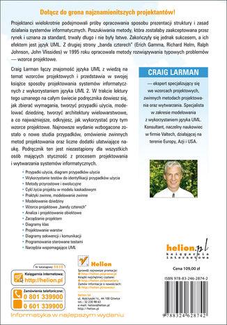 Tył okładki książki UML i wzorce projektowe. Analiza i projektowanie obiektowe oraz iteracyjny model wytwarzania aplikacji. Wydanie III