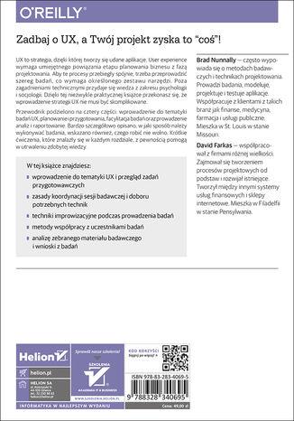 Tył okładki książki/ebooka Badanie UX. Praktyczne techniki projektowania bezkonkurencyjnych produktów