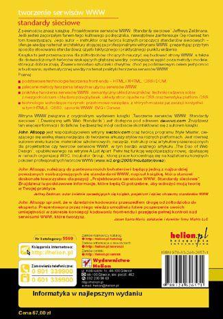 Tył okładki książki/ebooka Tworzenie serwisów WWW. Standardy sieciowe