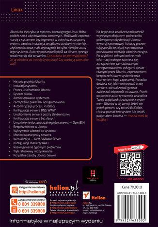 Tył okładki książki Ubuntu Serwer. Oficjalny podręcznik. Wydanie II