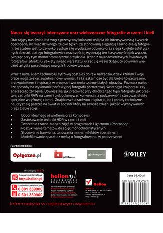 Tył okładki książki/ebooka Czarno - biały kadr. Kreatywna fotografia