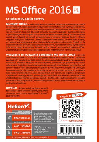 Tył okładki książki/ebooka MS Office 2016 PL w biurze i nie tylko