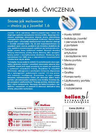 Tył okładki książki/ebooka Joomla! 1.6. Ćwiczenia