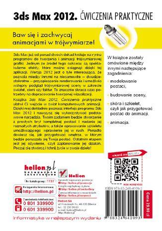 Tył okładki książki 3ds Max 2012. Ćwiczenia praktyczne