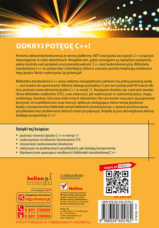 Tył okładki książki/ebooka C++. Biblioteka standardowa. Podręcznik programisty. Wydanie II