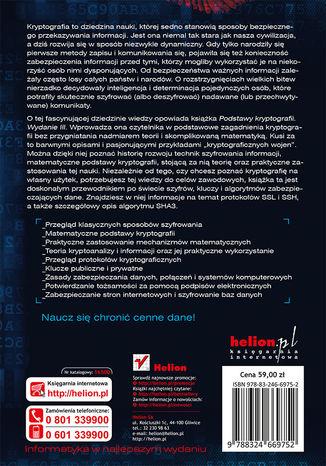 Tył okładki książki Podstawy kryptografii. Wydanie III